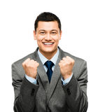 Mixed race businessman celebrating success isolated on white bac Royalty Free Stock Images