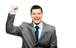 Mixed race businessman celebrating success isolated on white bac Royalty Free Stock Photo