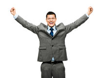 Mixed race businessman celebrating success isolated on white bac Royalty Free Stock Photography