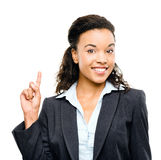 Mixed race businesswoman has idea isolated on white background Stock Photos