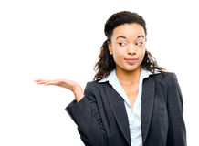 Mixed race businesswoman showing empty copyspace isolated on whi Stock Photo
