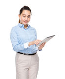 Mixed race businesswoman use digital tablet Royalty Free Stock Images