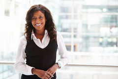 Mixed race businesswoman, waist up portrait royalty free stock photo