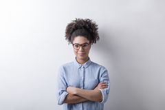 Mixed race businesswoman. Wearing glasses Royalty Free Stock Photo