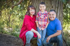Mixed Race Caucasian and Hispanic Family in the Forest Royalty Free Stock Photo