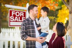Mixed Race Chinese and Caucasian Parents and Child In Front of F Royalty Free Stock Photos