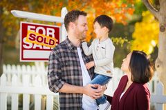 Mixed Race Chinese and Caucasian Parents and Child In Front of F Stock Image