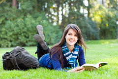 Mixed race college student studying Royalty Free Stock Images