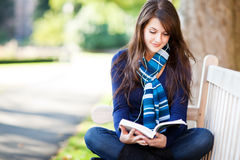 Mixed race college student studying Stock Images
