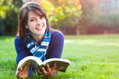 Mixed race college student studying stock image