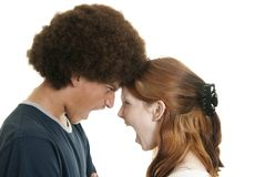 Mixed-race couple arguing Stock Images