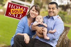Mixed Race Couple, Baby, Sold Real Estate Sign Royalty Free Stock Image