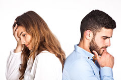 Mixed-race couple having ralationship problems isolated on Stock Images
