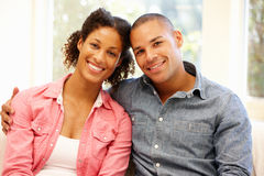 Mixed race couple at home Stock Photography