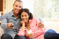 Mixed race couple at home Royalty Free Stock Image
