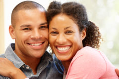Mixed race couple at home Stock Images