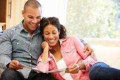 Mixed race couple at home Royalty Free Stock Photo