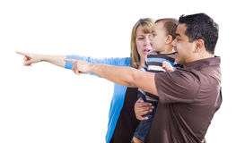 Mixed Race Couple Pointing With Son on White Royalty Free Stock Images