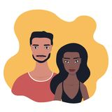 Mixed race couple Portrait Multi racial relationship concept. Mixed race couple Portrait Multi racial relationship Happy young people family Handsome Arabic Arab vector illustration
