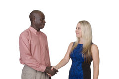 Mixed race couple shaking hands Royalty Free Stock Photos