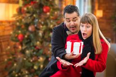 Ecstatic Mixed Race Couple Sharing Christmas In Front of Decorated Tree. Mixed Race Couple Sharing Christmas In Front of Decorated Tree stock image