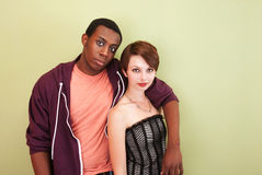 Mixed race couple stare at the camera Stock Photos