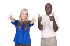 Mixed race couple thumbs up Stock Images
