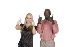 Mixed race couple thumbs up Stock Image