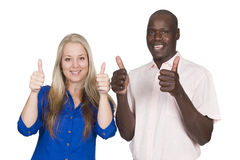 Mixed race couple thumbs up Royalty Free Stock Photography