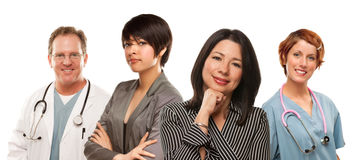 Mixed Race Ethnic Women with Doctors or Nurses Royalty Free Stock Photo