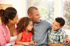 Mixed race family at home royalty free stock image