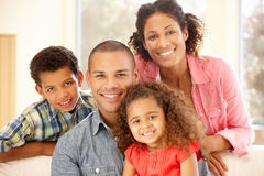 Mixed race family at home stock photos