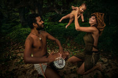 Mixed Race Family with Newborn Baby stock image