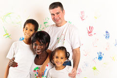 Mixed-race Family Painting Stock Photo
