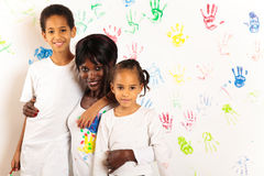 Mixed-race Family Painting Stock Image