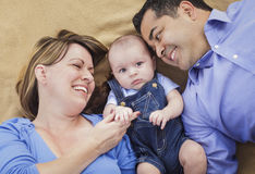 Mixed Race Family Playing on the Blanket Stock Image