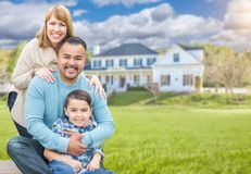 Mixed Race Family Portrait In Front of House Stock Photography