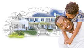Mixed Race Father and Son Over House Drawing and Photo Stock Photo