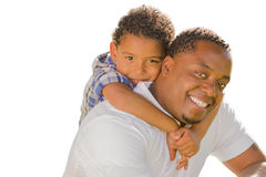 Mixed Race Father and Son Playing Piggyback On White Royalty Free Stock Photo
