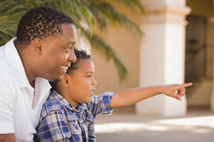 Mixed Race Father and Son Pointing in the Park Stock Image