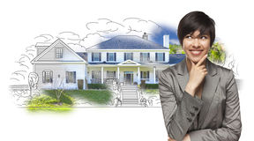 Mixed Race Female Gazing Over House Drawing and Photo Royalty Free Stock Photos