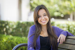Mixed Race Female Student Portrait on School Campus Royalty Free Stock Photos