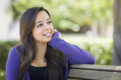 Mixed Race Female Student Portrait on School Campus Royalty Free Stock Images