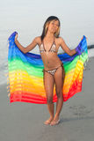 Mixed race girl with colorful sarong royalty free stock photos