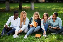Mixed-race group of students sitting together on green lawn of university campus. Group of young students sitting together on green lawn high school university stock photo