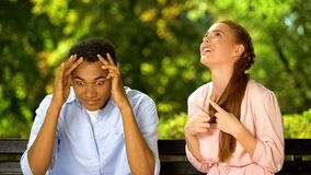 Free Mixed-race Guy Shocked By Too Talkative And Annoying Girl During First Date Royalty Free Stock Photos - 161865908