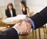 Mixed race handshake. royalty free stock photo