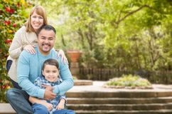 Mixed Race Hispanic and Caucasian Family Portrait at the Park Royalty Free Stock Image