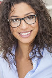 Mixed Race Latina Woman Girl Wearing Glasses Stock Images