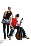 Mixed race musicians. Afican albino male and mixed race female musicians Stock Photography